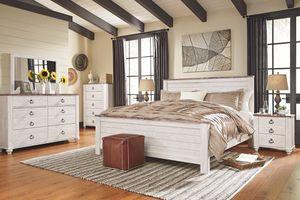 4 PC Queen Bedroom Set (Queen Bed, Dresser, Mirror, Nightstand Included), Whitewash for Sale in Huntington Beach, CA