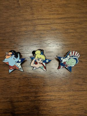 Set of 3 Disney hidden Mickey pins featuring Tinkerbell, Jiminy cricket and Dumbo for Sale in Glendale, AZ