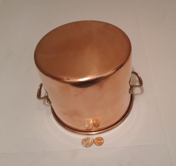 "Vintage Metal Copper and Brass Cooking Pot, Pan, 7 1/2"" x 6"" Pan Size, Heavy Duty, Kitchen Decor, Hanging Decor, Shelf Display"