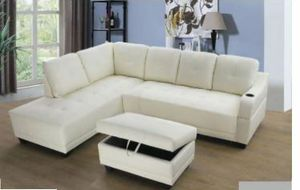 $29 down no credit needed no interest 90 days white color faux leather sectional with storage Ottoman and cup holder for Sale in Silver Spring, MD