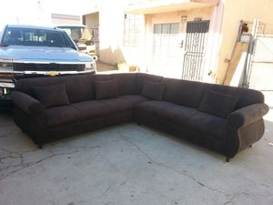 NEW 9X9FT BARCELONA BROWN FABRIC SECTIONAL COUCHES for Sale in Victorville, CA