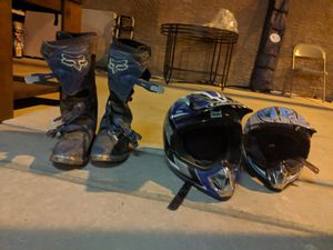 motorcycle Fox racing boots size 10 motorcycle helmets size XL and Small for Sale in Las Vegas, NV