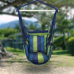 Hammock Hanging Rope Chair Patio Camping Porch Swing Seat Portable Blue Stripe with 2 Pillows for Sale in Charleston, IL