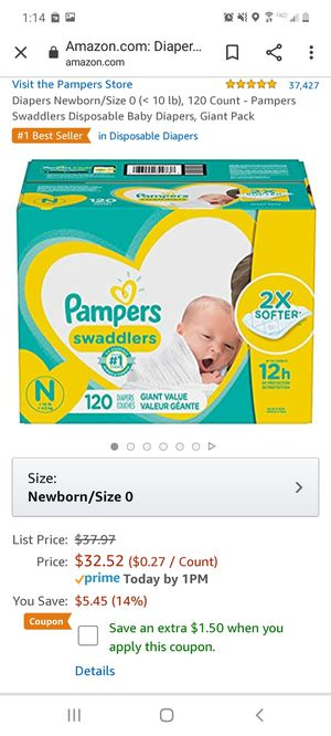 Diapers Pampers Newborn Swaddlers for Sale in Phoenix, AZ