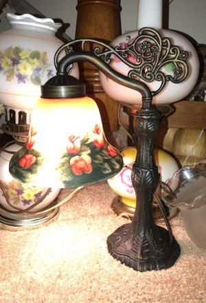 """13"""" Antique Handel Looking Desk Lamp with Dimmer Switch and Brass Filigree Arm and Base for Sale in Plainfield, IL"""