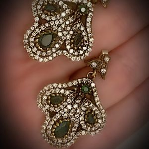 EMERALD FINE ART DANGLE POST EARRINGS Solid 925 Sterling Silver/Gold WOW! Brilliant Facet Pear/Round Gems, Diamond Topaz K6116 V for Sale in San Diego, CA