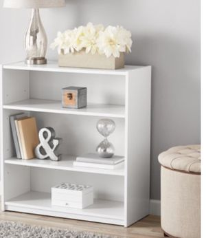 New!! Bookcase, bookshelves, organizer, storage unit, 3 shelf bookcase, living room furniture, entrance furniture, shelving display , white for Sale in Phoenix, AZ