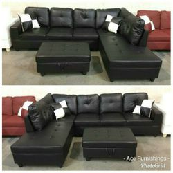 Brand New Black Leather Sectional With Storage Ottoman for Sale in Renton,  WA