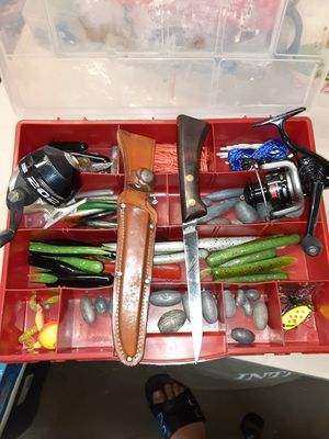 Fishing tackle box and fishing reels for Sale in Ontario, CA