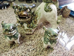 3 collectible vintage green porcelain ceramic Asian foo dogs statues figurines for Sale in Kent, WA