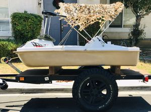 24v Electric Pelican Fishing boat with trailer 200lbs thrust trolling motor pedal boat bass lake river bay dinghy for Sale in Chino Hills, CA