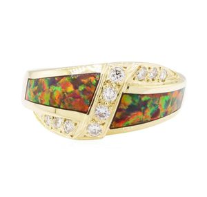 0.40 CTW Diamond + Inlaid Opal 14K Gold Ring for Sale in Burlingame, CA