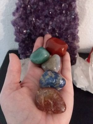 Set of 5 BRAND NEW Stone and Crystals MAGNETS. 2 Jasper, 1 Green Aventurine, 1 Sodalite and a Smoky Blue Quartz. Perfect to give as gifts. for Sale in Rancho Cucamonga, CA