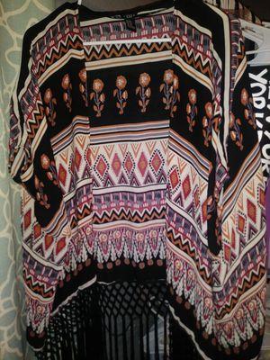 forever 21 Tribal Fringe Polyester Shawl Cardigan for Sale in Fresno, TX