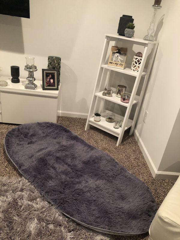 New grey fuzzy rug
