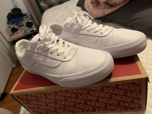All white leather sz 10 Vans for Sale in Stockton, CA