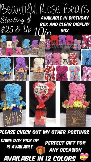Beautiful Rose. Bears 10in. Available In 12 Different Colors. Same Day Pick Up Is Available. ⬇️ Please Read Below ⬇️ for Sale in South Gate, CA