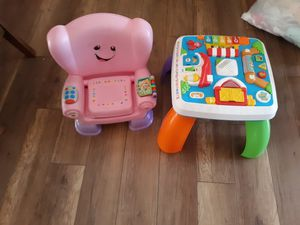 Kids Fisher price learning table and chair used but still in good condition both working good no longer needed. for Sale in Phelan, CA
