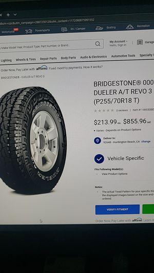 Jeep wheels! Bridgestone P255/70R18 for Sale in Huntington Beach, CA
