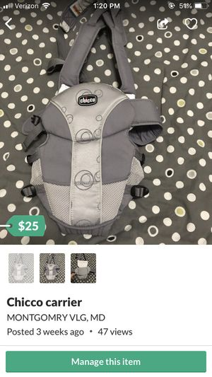 Chicco carrier for Sale in Gaithersburg, MD