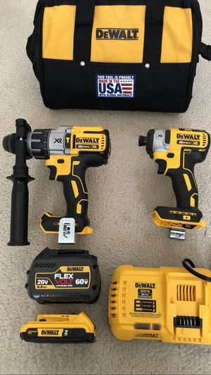 DeWalt 20volt FLEXVOLT XR Brushless Hammer Drill / Impact Driver 2-Tool Combo with 2 Batteries, Charger and Tool Bag for Sale in Hacienda Heights, CA