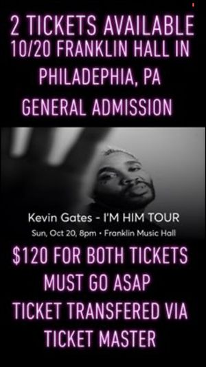 Kevin gates tickets for Sale in Hanover, PA