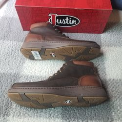 JUSTIN MEN'S HITCHER DARK BROWN LACE-UP BOOTS - MOC TOE for Sale in Chino Hills,  CA