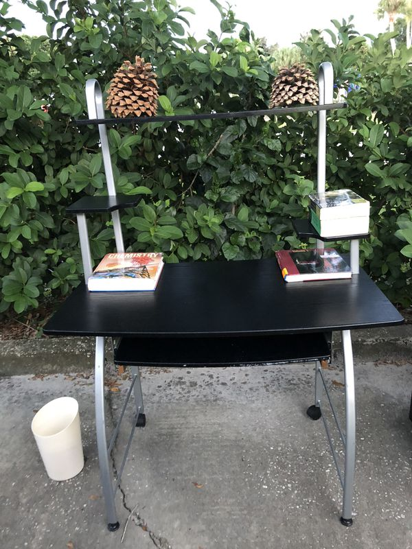 Study and computer table with orang lather chair