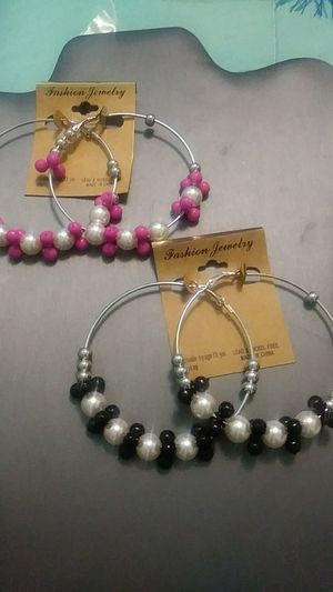 New 2pairs silver pearl beads hoops for Sale in Yonkers, NY