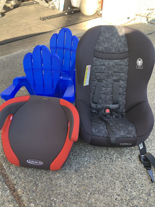 Car seat, booster seat, 2 children's lawn chairs