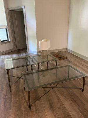 Glass Coffee & end tables w lamps for Sale in Dallas, TX