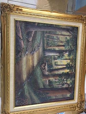 Beautiful Hoyt Painting of Foxes with gilded frame canvas for Sale in Hialeah, FL