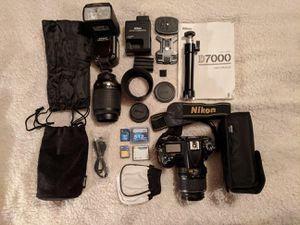Nikon D7000 w/2 lenses, flash, misc accessories for Sale in Elk Grove, CA