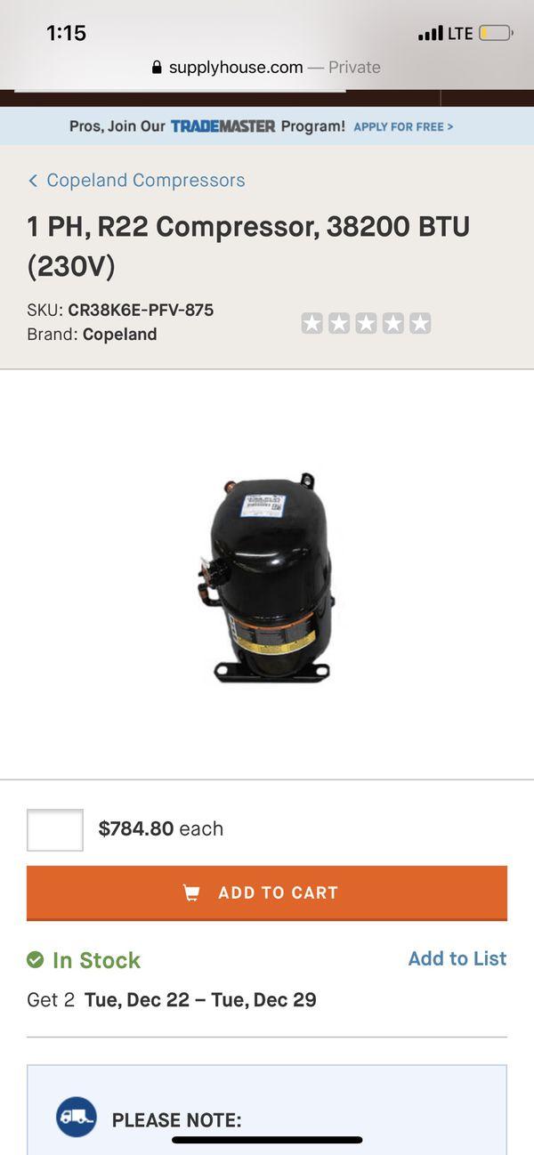 Copeland Compressor 3 Ton /36,000BTU AC.