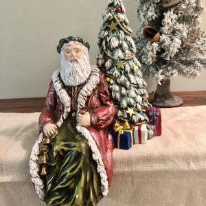 Large Vintage Signed Handmade & Hand Painted Ceramic Shelf Sitting Santa & Tree 1993 for Sale in Largo, FL