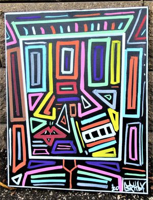 20x16 ORIGINAL SIGNED PRIMITIVE EXPRESSIONIST PAINTING. STRETCHED CANVAS AND READY TO HANG! for Sale in Cincinnati, OH