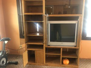 Oak entertainment center for Sale in Waltham, MA