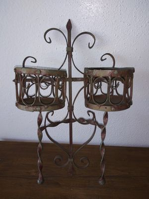 Rustic Shabby Chic Cross Planter Candle Iron Wall Decor for Sale in Los Angeles, CA