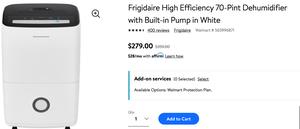 Frigidaire High Efficiency 70-Pint Dehumidifier with Built-in Pump in White Frigidaire High Efficiency 70-Pint Dehumidifier with Built-in Pump in Whit for Sale in Lexington, KY