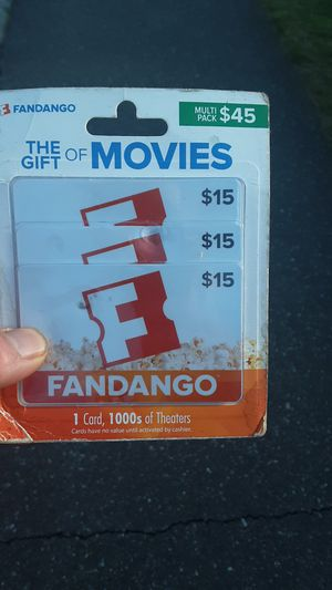 Fandango gift cards 3 x 15 for Sale in Edmonds, WA