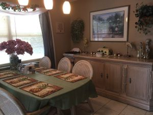 10 Piece Dining Set Glass Top Table 6 Chairs 2 Bar Height Stools and Buffet for Sale in Spring Hill, FL