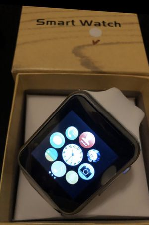 GT08 A1 Smart Watch Works with both iPhone & Android thru Bluetooth. Silver & White Color. Checks on Calls, Messages, Pulse, Pedometer and more! for Sale in Miami, FL