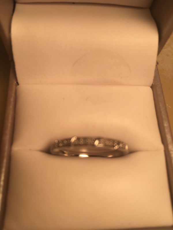 Sterling Silver Diamond Ring-Size 8, New Condition