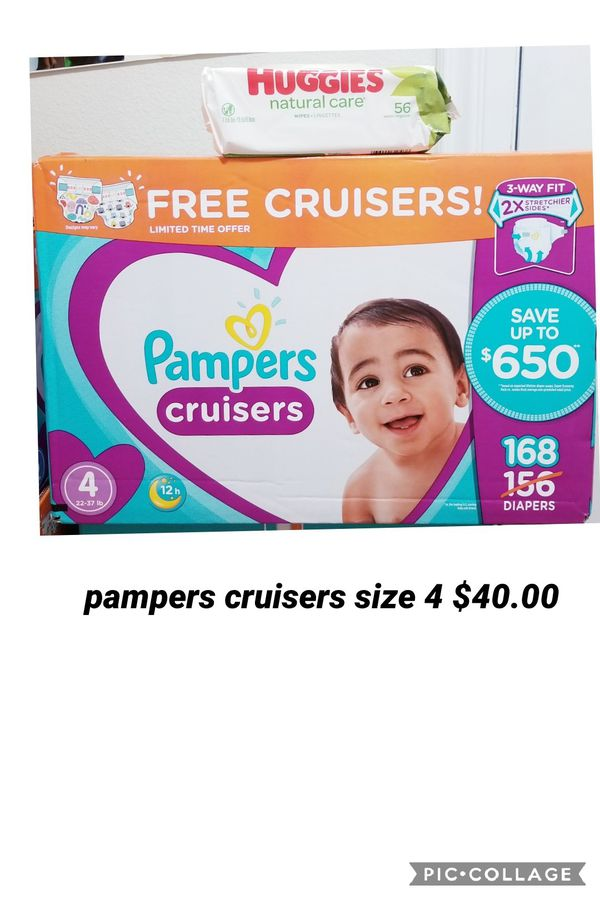 Pampers cruisers size 4 free pack of wipes