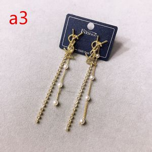Fashion Letter YSL Gold Plated With Diamonds Pearl Dangle Earrings 925 Silver for Sale in Corona, CA