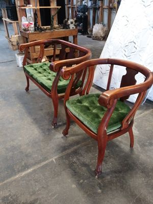 Antique bench and chair solid wood in good condition for Sale in Madera, CA