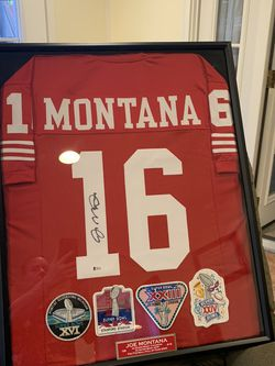Joe Montana Signed And Framed 24x30 Jersey With 4 Super Bowl Patches San Francisco 49ers Beckett COA for Sale in West Hills,  CA