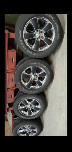 "Dodge ram 1500 20"" Chrome wheels with Goodyear tires. 75% tread left and rims are perfect for Sale in Chicago, IL"