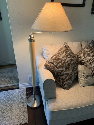 Modern wood & brushed nickel floor lamp for Sale in Tacoma, WA