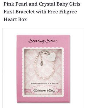 Brand New Pink pearl and crystal Swarovski baby bracelet for Sale in Pompano Beach, FL